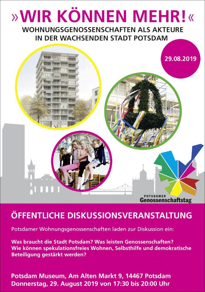 Einladung zur Diskussionsveranstaltung »WIR KÖNNEN MEHR!« Wohnungsgenossenschaften als Akteure in der wachsenden Stadt Potsdam