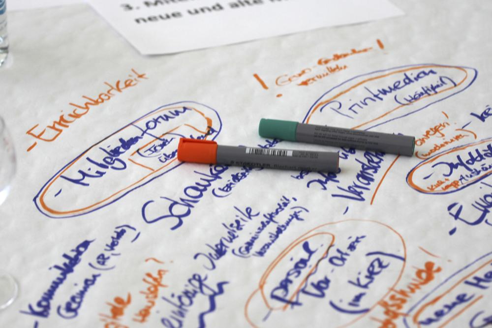Mitschriften der Teilnehmenden bei den Thementischen